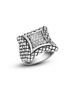 Scott Kay Sterling Silver Medium Square Diamond Basket-Weave Ring