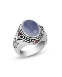 Scott Kay Sterling Silver Ring with Blue Chalcedony Center & Garnet Accents