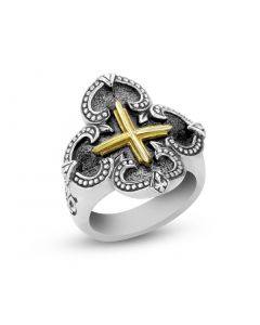 Scott Kay Sterling Silver Ring with Fleur Di Lis & 18K Yellow Gold Cross