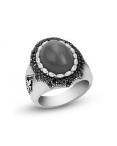 Scott Kay Sterling Silver Gray Moonstone & Black Sapphire Ring