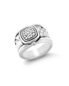 Scott Kay Sterling Silver Square Basketweave Cushion Diamond Ring