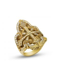 Scott Kay Sterling Silver/Vermeil Filigree Cross Ring with White Sapphires