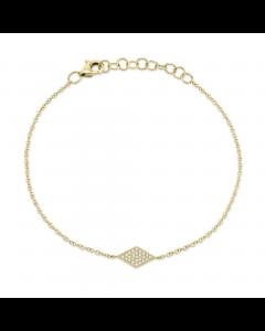 Shy Creation 14K Yellow Gold Pave Diamond Station Bracelet