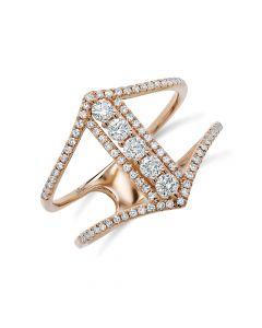 Shy Creation 14KRG Modern Diamond Bar Ring