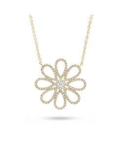 Shy Creation 14KYG Diamond Flower Pendant
