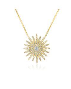 Shy Creation 14KYG Large Diamond Starburst Necklace