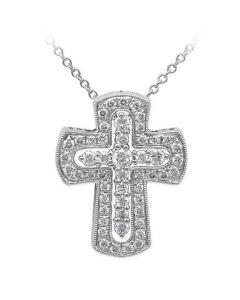 Simon G 18KWG Diamond Cross Pendant with Chain