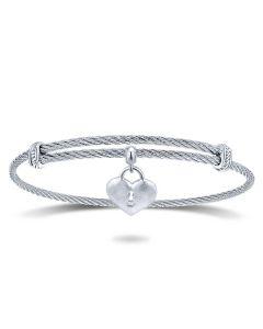 Gabriel & Co Silver & Stainless Steel Soho Heart Lock Charm Bracelet