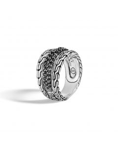 John Hardy Sterling Classic Chain Black Sapphire & Black Spinel Ring