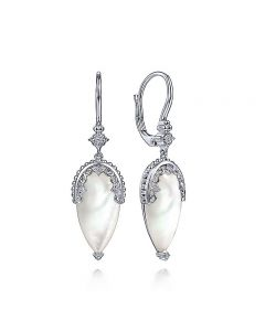 Gabriel & Co Sterling Silver Victorian Mother of Pearl Drop Earrings