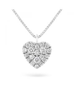 Windsor Collection 18K White Gold Paved Heart Pendant on Chain