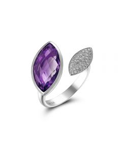 Luvente 14K White Gold Marquise Amethyst Ring